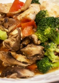 彩り野菜とむね肉のニンニク炒め