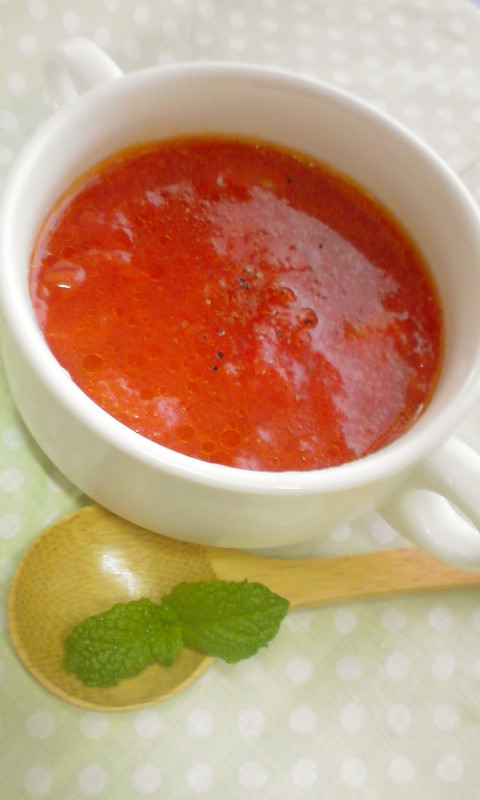 レンジで3分☆絶品フレッシュトマトスープ