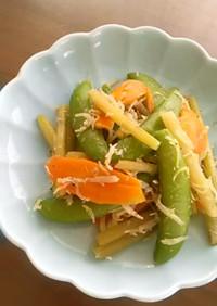 スナップエンドウとふきの炒め物
