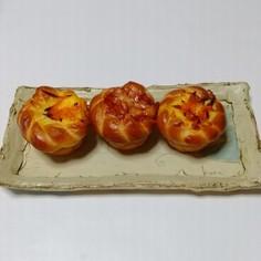 お花の三つ編みクリームパン