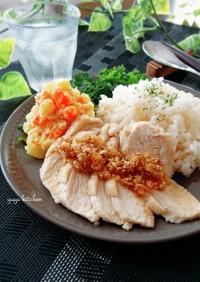 炊飯器で簡単☆蒸し鶏とポテサラプレート。