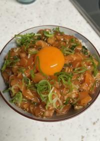 サーモン麺の残りで、サーモンユッケ丼♡