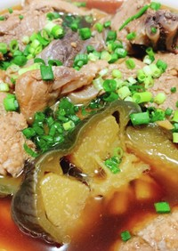 マグロ筋と丸茄子の甘辛煮
