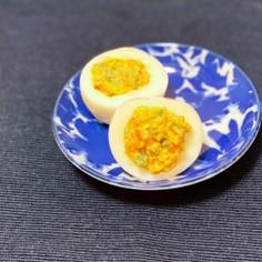 超簡単!明太子マヨと大葉でおしゃれゆで卵