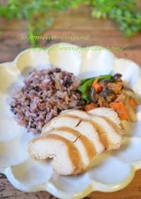 炊飯器で鶏味噌チャーシューと黒米おこわ♪