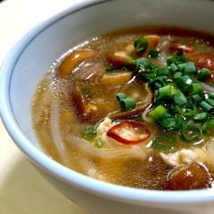 特大なめこと鶏ひき肉のピリ辛中華スープ