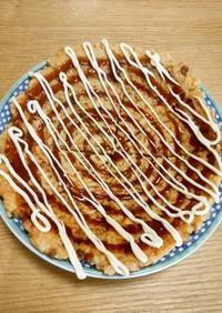 納豆とご飯のお好み焼き