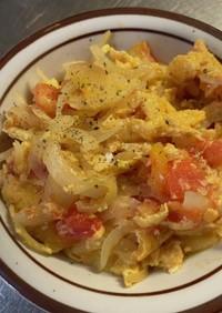 トマトと玉ねぎの卵炒め