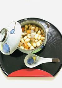 煮汁と食べる薄味五目豆