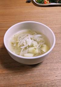 豚しゃぶの茹で汁でスープ