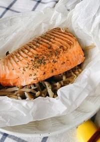 【純米料理酒】鮭ときのこのレンジ蒸し
