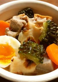 ゴーヤ、蒟蒻、厚揚げの煮物  発酵玉葱