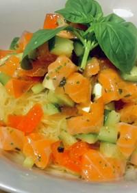 サーモンとトマトの冷製カッペリーニパスタ