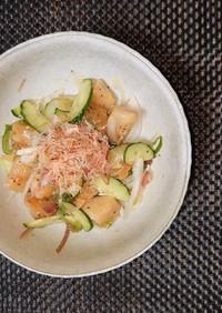 ヨウサマの減塩長芋漬物の揚げ焼きサラダ