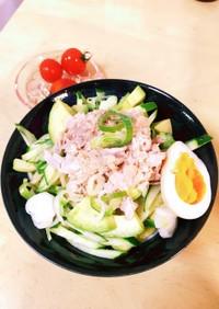 糖質ゼロ麺deツナマヨ冷やしサラダ麺