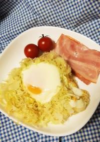 朝食にどうぞ! 簡単キャベツハムエッグ