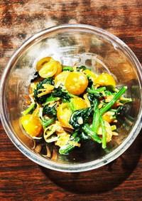 ほうれん草&ミニ黄トマトのツナマヨサラダ