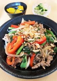 タイ風*豚ひき肉とパプリカの春雨炒め