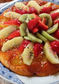 焼きリンゴとフルーツケーキ