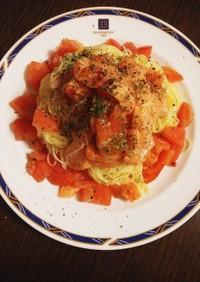 簡単☆サーモンとトマトの冷製パスタ