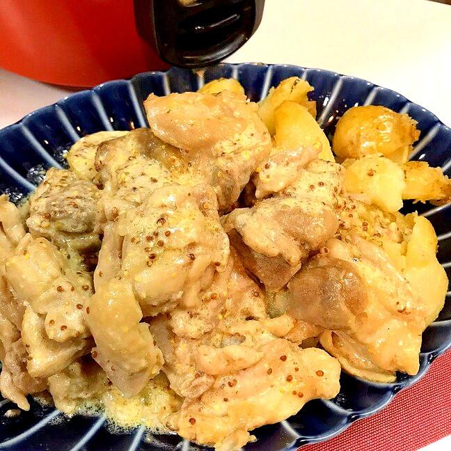 ◤電鍋レシピ◢ 鶏肉マスタードクリーム煮