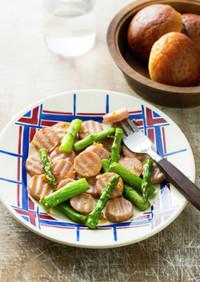 アスパラと魚肉ソーセージのソテー