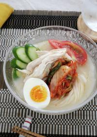 蒸し鶏とキムチの韓国冷麺風そうめん