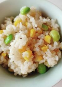簡単キャンプ飯!枝豆トウモロコシごはん!