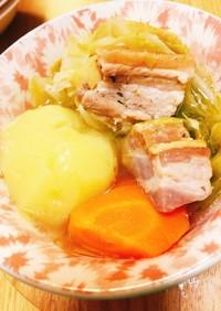 塩豚(パンツェッタ)のごろごろ野菜スープ