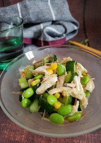 夏野菜とささ身の中華風だしびたし