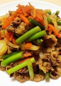 簡単おかず:ニンニク芽と豚肉炒め