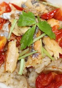 太刀魚の干物と乾燥舞茸で炊き込みご飯