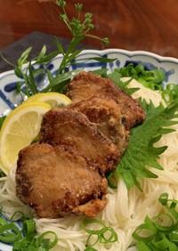 素麺に鰹の竜田揚げトッピング