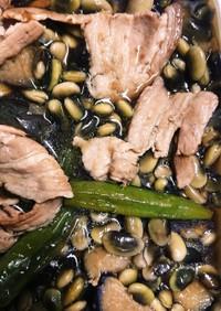 夏野菜と豚肉と豆の煮浸し