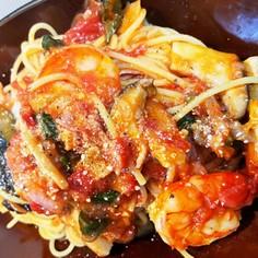 トマトスパゲッティ!夏野菜たっぷりで〜