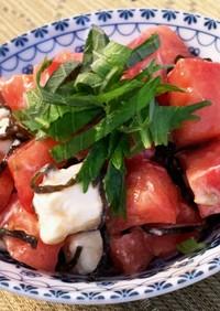 トマトとクリームチーズの塩こんぶサラダ