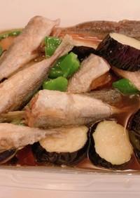 骨ごと豆アジとナス、ピーマンの揚げ浸し
