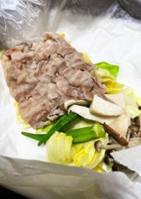 豚バラと野菜のレンチン蒸し