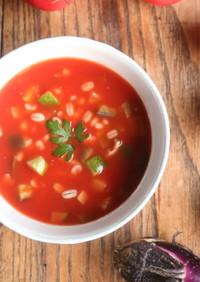 夏野菜ともち麦の冷製トマトスープ
