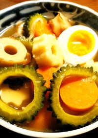 ゴーヤ、竹輪、竹輪麩の煮物 発酵玉葱