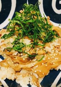 焼肉のタレで簡単!舞茸と豚肉の混ぜごはん
