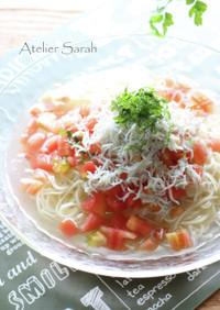 簡単5分♪冷たいトマト&しらすスープ素麺