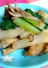 長芋・舞茸・小松菜のにんにくしょう油炒め