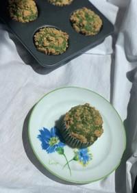 抹茶と小豆のきな粉クランブルマフィン