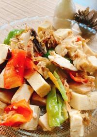 高野豆腐と福耳唐辛子で煮物