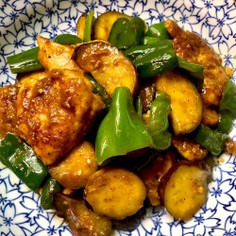 ハウスジャワカレー味鶏胸茄子ピーマン炒め