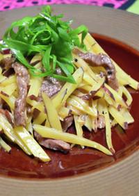 牛肉とじゃがいもの細切り黒胡椒炒め