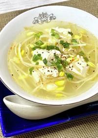 豆もやしのピリ辛スープ