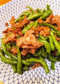 紐唐辛子と肉の甘辛炒め