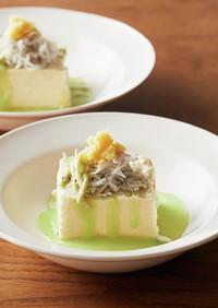 豆腐としらすの枝豆ソースおろし生姜
